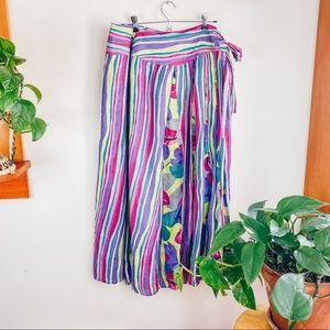 Boho Stripped Colorful Full Maxi Wrap Skirt w/Tie